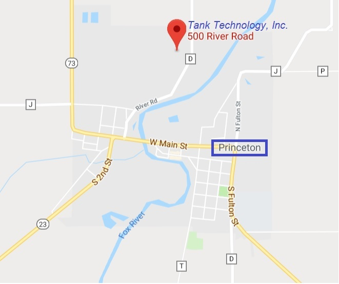 Map of Tank Technology in Princeton, WI