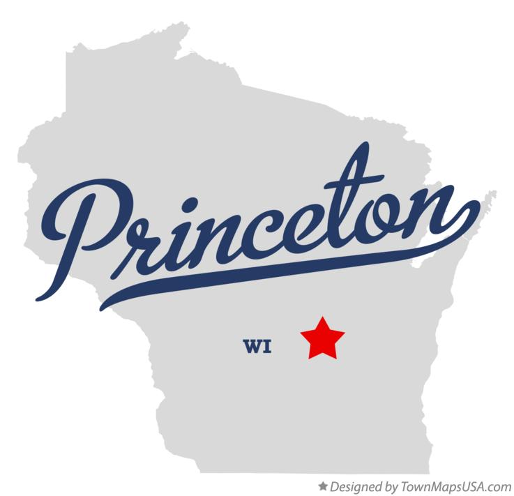 Wisconsin State map highlighting Princeton, WI